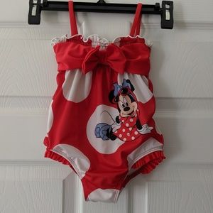 Minnie Mouse Bow Polkadot One Piece Swimsuit 24M